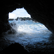 A lava tube cave at Waianapanapa State Park near Hana on Maui.