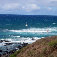 Windsurfers near Paia, the purported