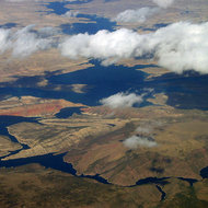 An aerial view of Flaming Gorge Reservoir.