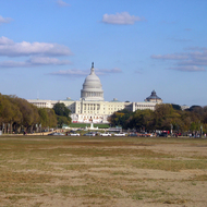 Looking down The Mall at Washington, DC to the U.S. Capitol Building.