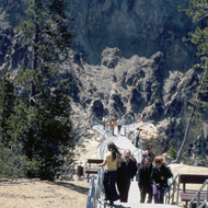 Walking to a lookout point (I believe Inspiration Point) overlooking the Grand Canyon of the Yellowstone.