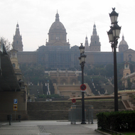 A view along the Avinguida de la Reina Maria Cristina to the Museu Nacional d'Art de Catalunya (the National Art Museum of Catalonia).