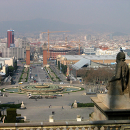 A view from the The Museu Nacional d'Art de Catalunya (the National Art Museum of Catalonia).