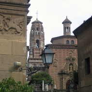 A church spire and building details at the Poble Espanyol.