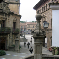 A view along a street looking to the square at the Poble Espanyol.