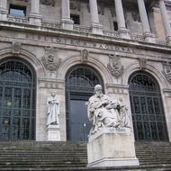 A sculpture of San Isidoro in front of the Biblioteca Nacional de Espa�a in Madrid.