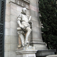 A statue of Cervantes in front of the Biblioteca Nacional de España in Madrid.