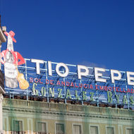 A billboard at the Puerta del Sol.