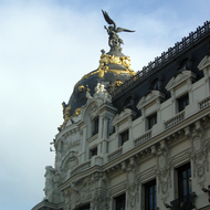 A close-up view of a beautiful building in downtown Madrid.