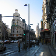 A downtown Madrid street scene, on the Calle Gran Via.