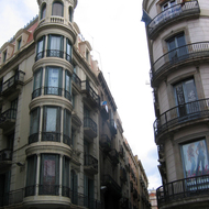 Buildings in downtown Barcelona, along La Rambla.