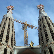 Some of the towers of the Glory Façade of La Sagrada Familia.