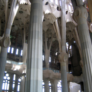 An interior view of La Sagrada Familia.
