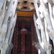 An interior view of La Sagrada Familia, with the scaffolding for the ongoing construction.