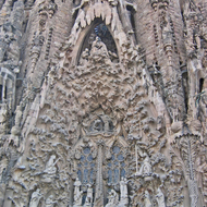 A view of the XXX Fa�ade of La Sagrada Familia.