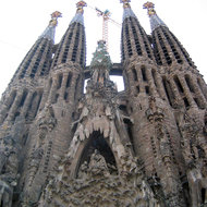 A view of the Passion Fa�ade and towers of La Sagrada Familia.