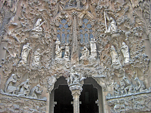 Thumbnail image of A view of part of the Passion Façade of La Sagrada...