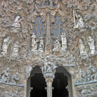 A view of part of the Passion Façade of La Sagrada Familia.
