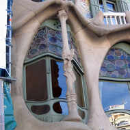 A detail view of the exterior of the Casa Battl�, designed by Antoni Gaud�.
