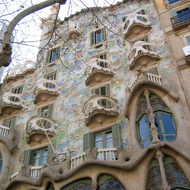 A view of the exterior of the Casa Battl�, designed by Antoni Gaud�.