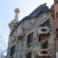 A view of the exterior of the Casa Battló, designed by Antoni Gaudí.
