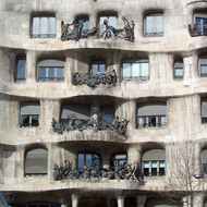 A close-up of the Casa Mila in Barcelona.