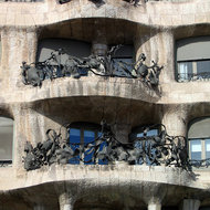 A close-up of the balconies of the Casa Mila in Barcelona.