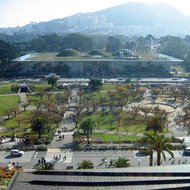 The California Academy of Sciences as seen from the tower of the DeYoung Museum.