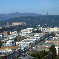 A view north across San Francsico to the Golden Gate Bridge and the Marin Headlands from the DeYoung Museum tower.