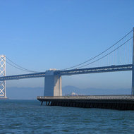 The San Francisco Bay Bridge from next to the Ferry Building in San Francisco.