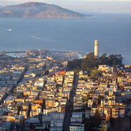 A view of San Francisco with Coit Tower and the Bay beyond from the Bank of America building.