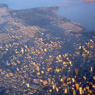 An aerial view of San Francisco from a commercial jet.