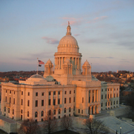 The Rhode Island State Capitol building in Providence, RI at Sunset.