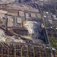 An aerial view of a mine near Chicago, Illinois.
