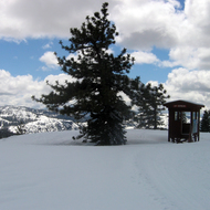A wilderness hut at the Royal Gorge Cross-country Ski Resort.