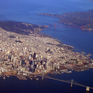 An aerial view of San Francisco, with the Golden Gate Bridge and the Marin Headlands.