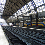 An interior view of the main train station in Amsterdam.