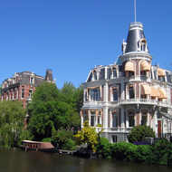 Houses across the canal from the Rijksmuseum in Amsterdam.