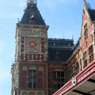 The Central train station in Amsterdam.