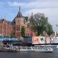 The Central train station in Amsterdam (Station Amsterdam Centraal).