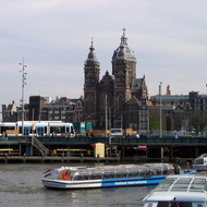 A scene in Amsterdam near Centraal Station.