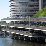 The Hotel Ibis in Amsterdam, and the incredible bicycle parking facility in front of it, all close to the Station Amsterdam Centraal.
