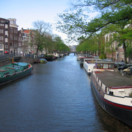 A typical Amsterdam canal scene.