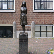 The statue of Anne Frank close to the Anne Frank Museum in Amsterdam.