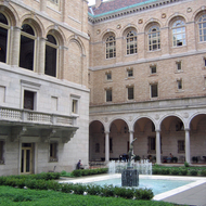 The interior courtyard of the Boston Public Library.