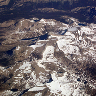 A view of the high Sierra from a commercial jet.