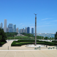 A view of the Chicago harbor and skyline from the steps of the Field Museum of Natural History.