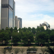 A view of Millennium Park from inside the Chicago Cultural Center.