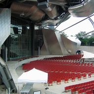 The Jay Pritzker Pavilion in Millennium Park, Chicago.