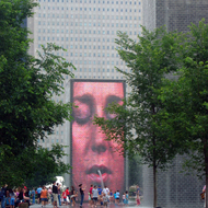 The Crown Fountain in Millennium Park, Chicago.